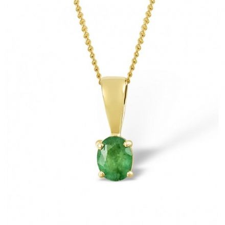 18K Gold 5mm x 4mm Emerald Pendant, DCP01-E